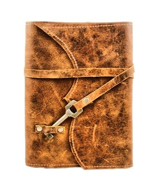 Custom Made Nottinghill Refillable Leather Journal With Antique Key – Distressed Brown