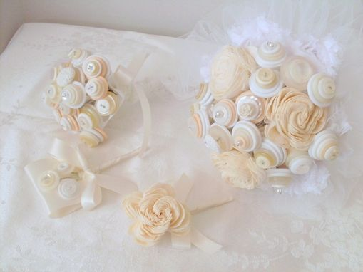 Custom Made Cream And White Buttons Bridal Bouquet