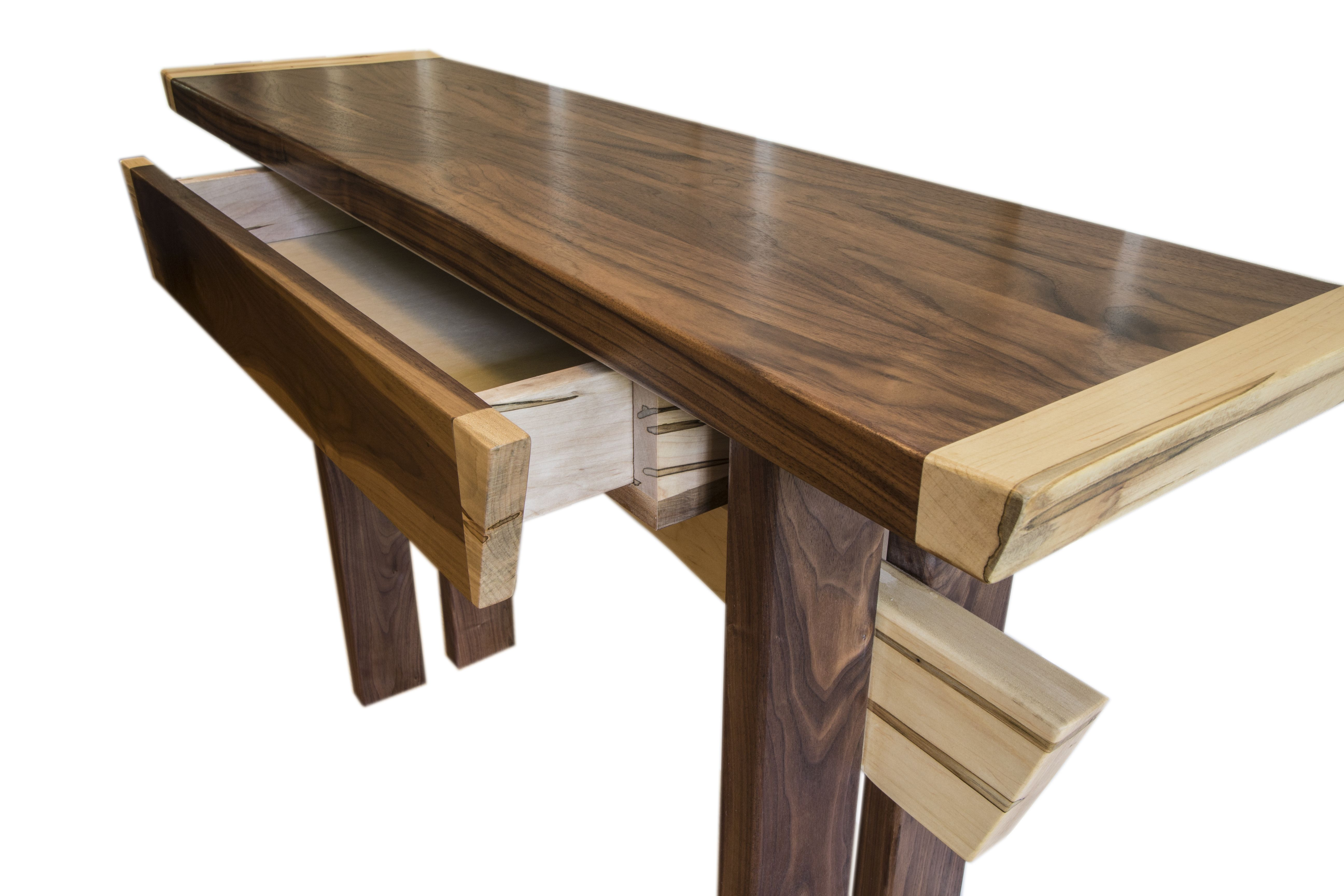 Buy a Hand Crafted Asian Inspired Maple And Walnut Entry Table