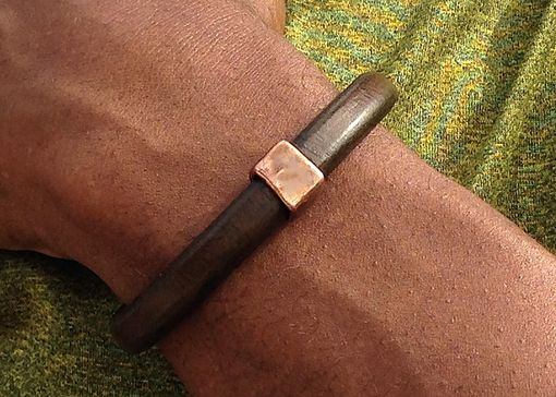 Custom Made Mens Brown Licorice Leather Bracelet With Copper Hardware