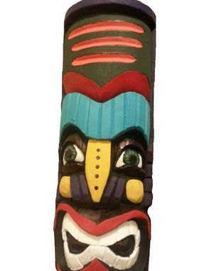 Custom Made Hand Painted Totem Pole Lawn Art Statue