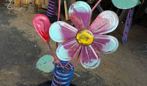 Custom Made Outdoor Metal Flower Sculpture By Raymond Guest