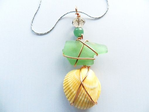 Custom Made Florida Sea Glass And Sea Shell On Sterling Silver Necklace