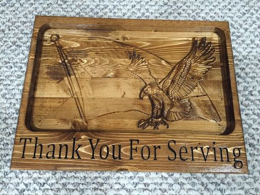 Custom Made Eagle On Flag Patriotic Carved 3d Sign
