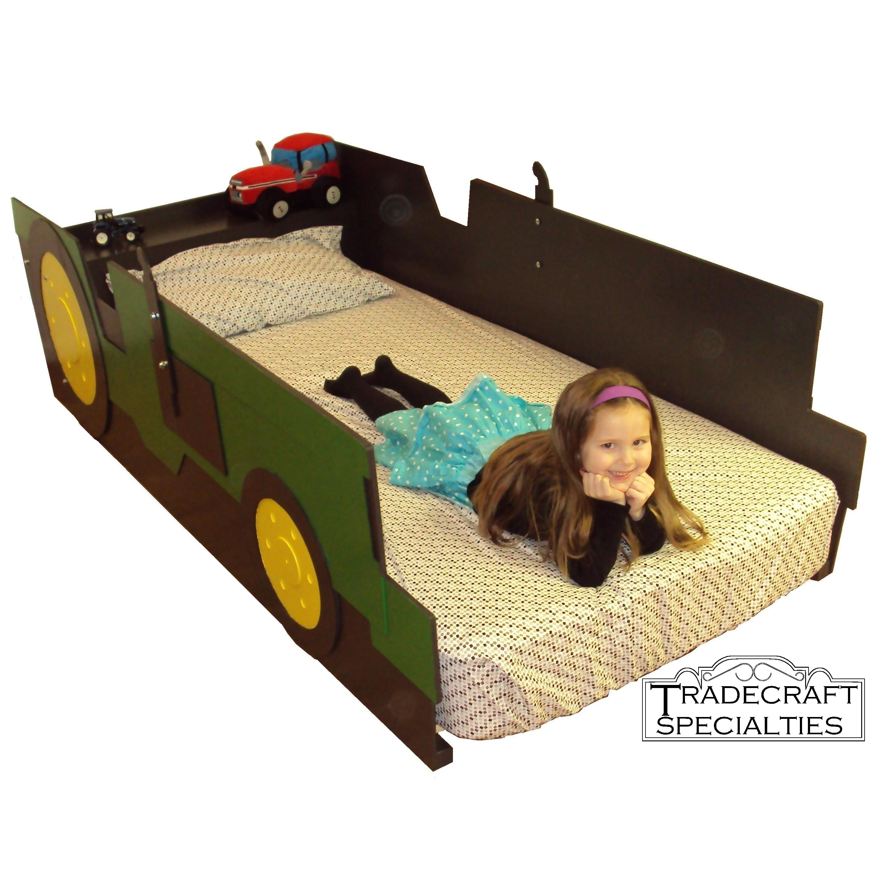 Buy a handmade tractor twin kids bed frame handcrafted for Little girl twin bed frame