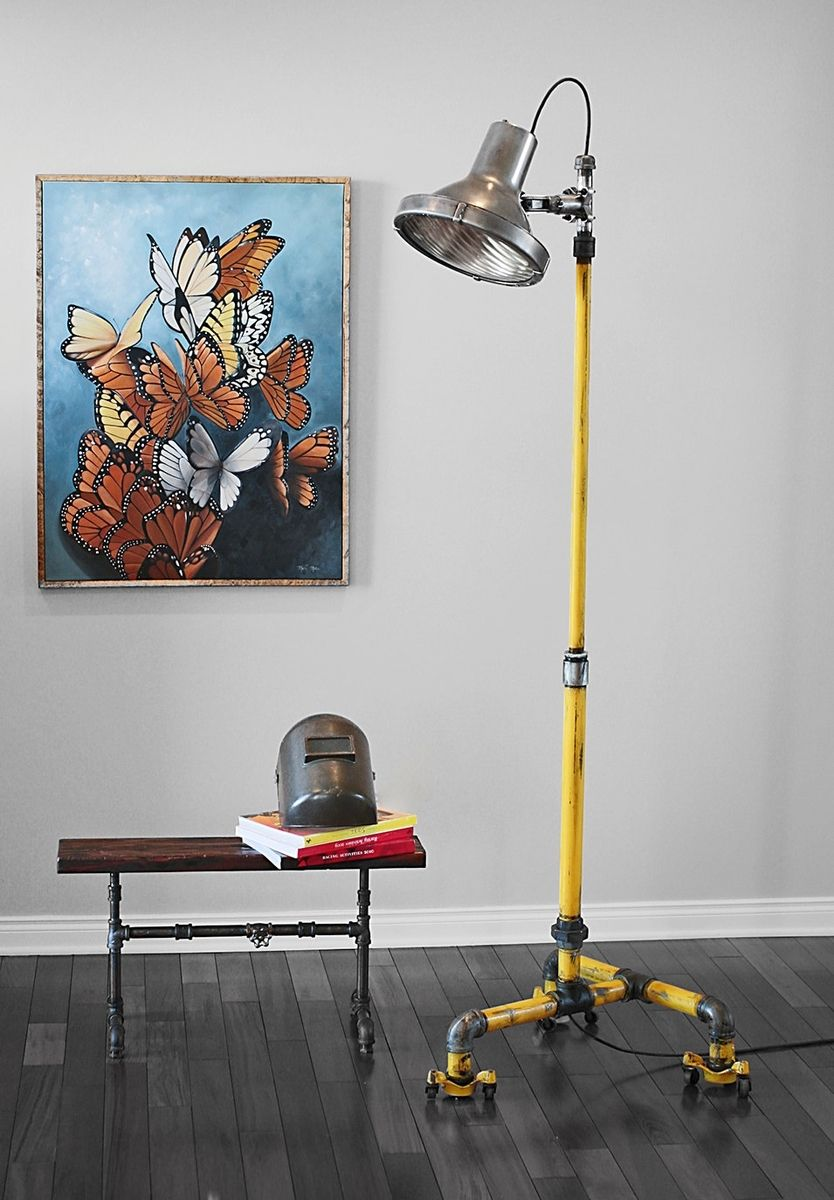 Hand Made Vintage Industrial Floor Lamp Crouse Hinds Light