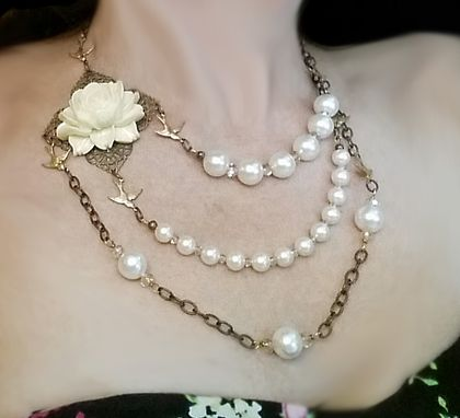 Custom Made Floral And Pearl Bridal Necklace