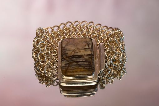 Custom Made Sterling Silver And Gold Filled Cuff With Zebra Jasper Clasp