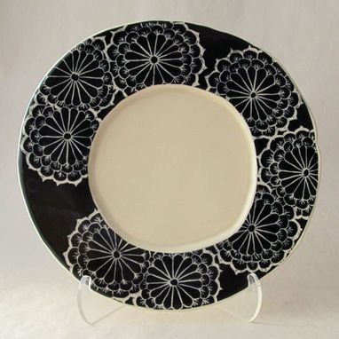 Custom Made Small Black And White Plate With Carved Flower Pattern