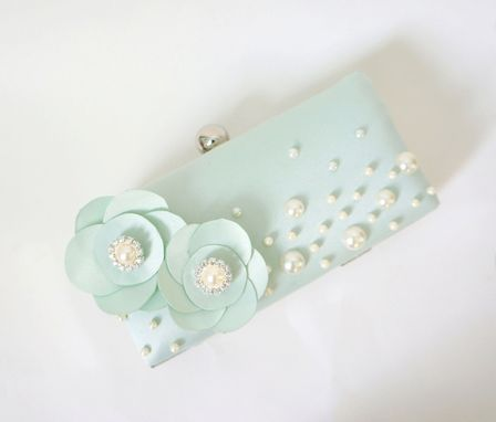 Custom Made Victorian-Inspired Mint Green Clutch Purse With Flower Accents And Lace