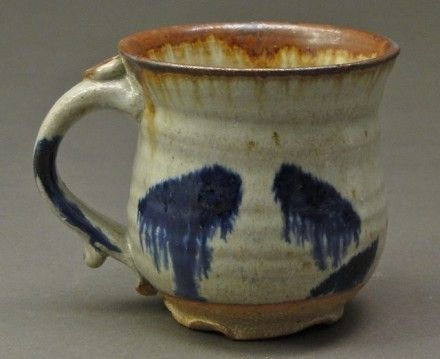 Custom Made Stoneware Pottery Coffee Mug With Wood Ash Nuka Glaze And Rust And Cobalt Blue Stains, (Sku 18)