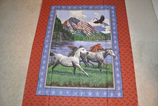 Custom Made Panel Lap Quilts - Partriotic Horse