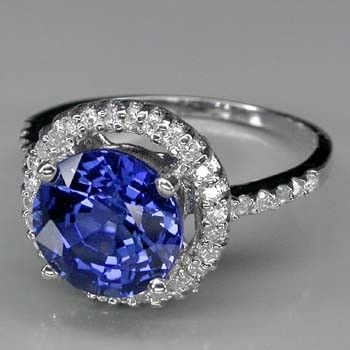 Custom Made 3 Carat Sapphire Ring In Halo Sterling Setting