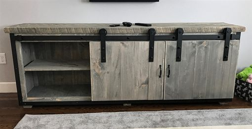 Custom Made Rustic Industrial Barn Board Media Stand W/ Sliding Doors