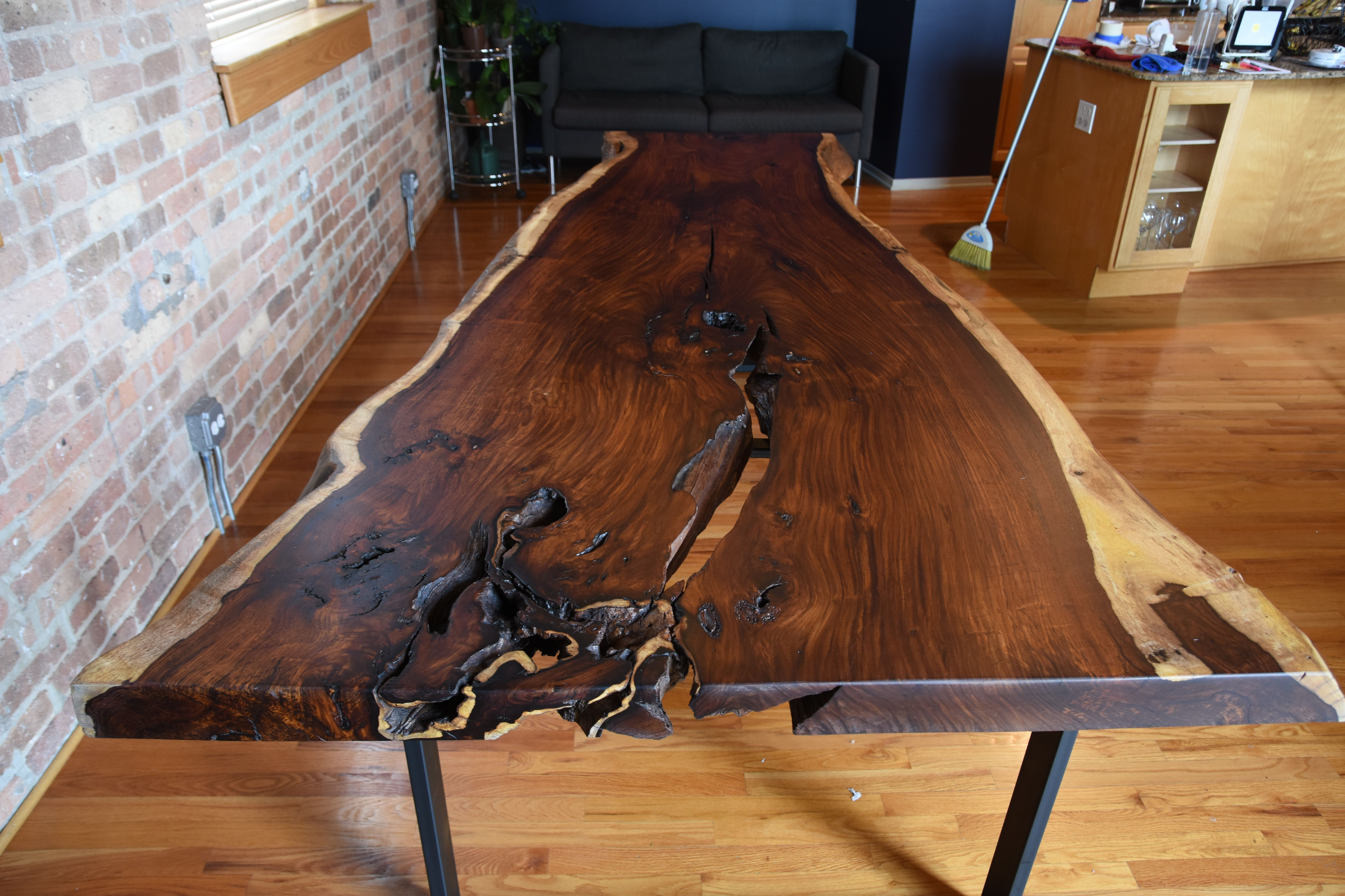 Hand Made Indian Rosewood Single Slab Dining Table By