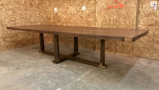 Custom Made Walnut Taper And Brass Dining Table