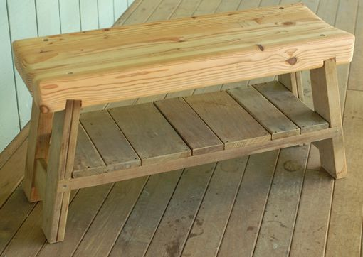 Custom Made Shoe Bench From Salvaged Construction Scraps