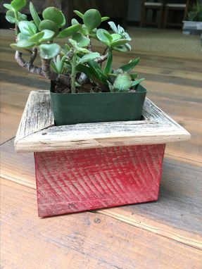 Custom Made Rustic Red Reclaimed Wood Succulent/Herb Box