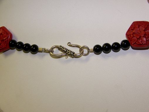 Custom Made Chinese Red Round Cinnebar Necklace. Black Onyx Beads, Ornamental Flower Bali Silver Accents