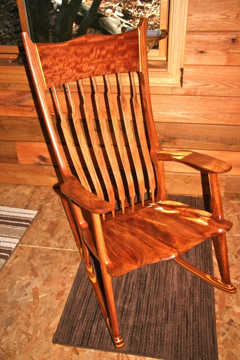 Hand Made Jatoba Rocker With Yellow Heart Accents By