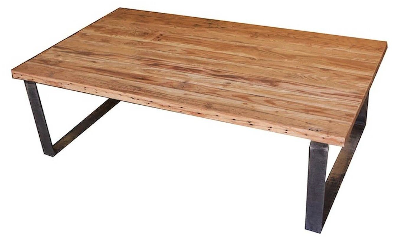 Custom industrial modern metal and reclamed wood coffee for Modern wooden coffee tables