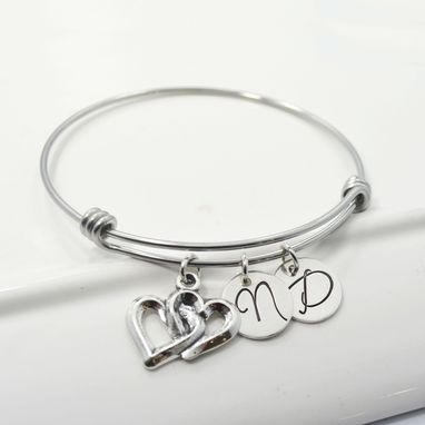Custom Made Double Heart Personalzied Adjustable Bracelet For Her