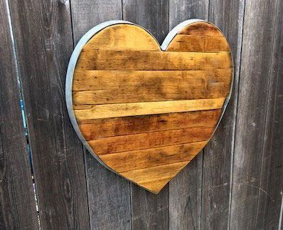 Custom Made Reclaimed Wine Barrel Staves And Hoop Heart