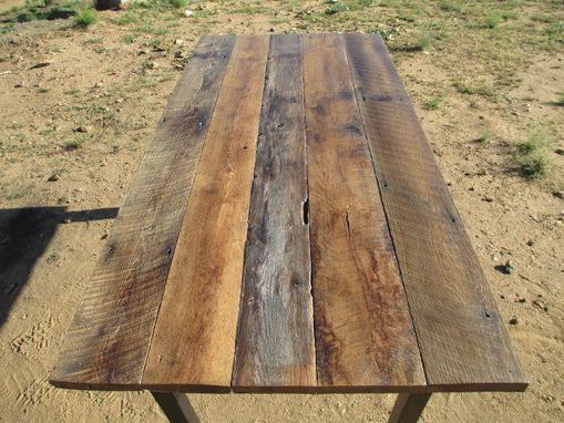 Custom Made Rustic Oak And Blackened Steel Dining Table