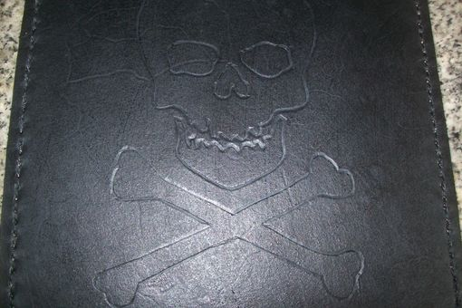 Custom Made Custom Leather Mouse Pad With Skull And Bones In Black