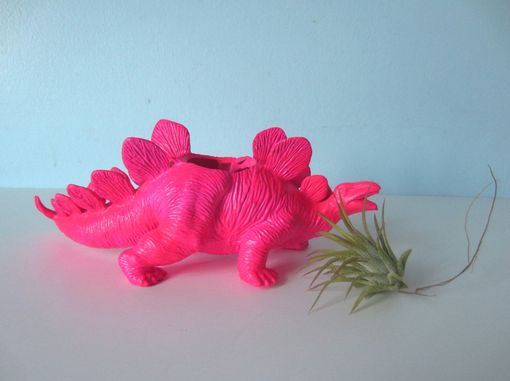 Custom Made Upcycled Dinosaur Planter - Neon Pink Stegosaurus With Air Plant