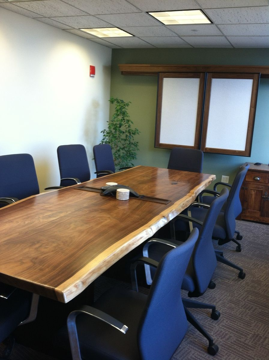 Hand Made Live Edge Black Walnut Conference Room Table By