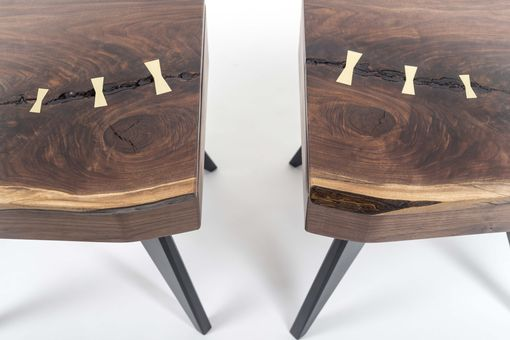 Custom Made Matching Walnut Slab Nightstands With Brass Lamp Touch Sensors