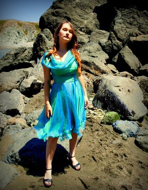 Custom Made Sea Nymph Iridescent Aqua Silk Chiffon Cocktail Dress Custom Couture Wedding Gown