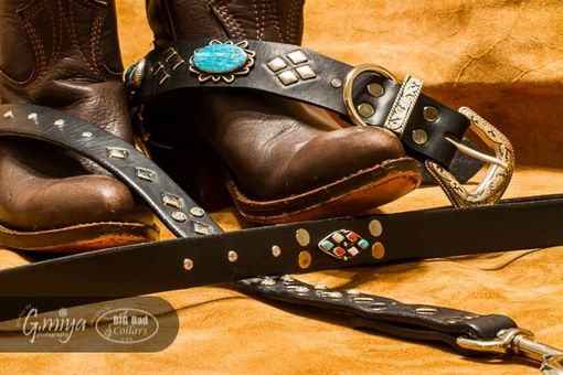 Custom Made Vintage Authentic Native American Turquoise And Silver Dog Collar.