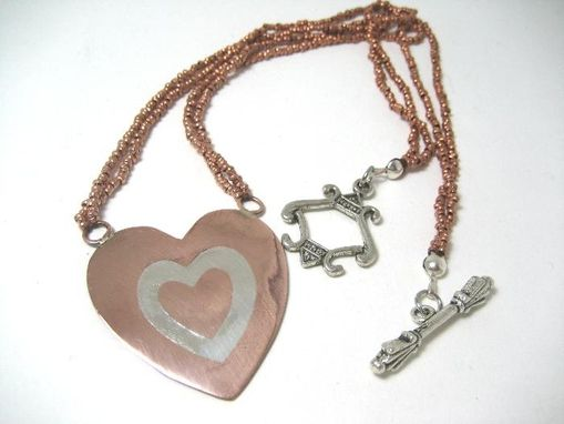 Custom Made Copper Inlay Heart Nechlace