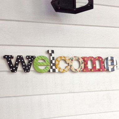 Custom Made Whimsical Welcome Sign // Painted Sign