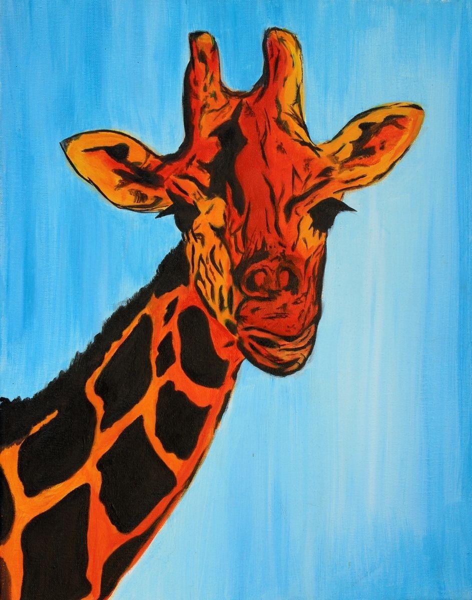 giraffe african animal pop abstract modern artwork paintings animals custommade drawings giraffes hand bang