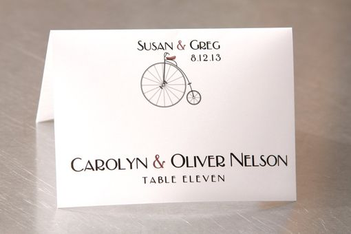 Custom Made Wedding Place Cards - Old Fashioned Bicycle - Escort Cards Custom Designed