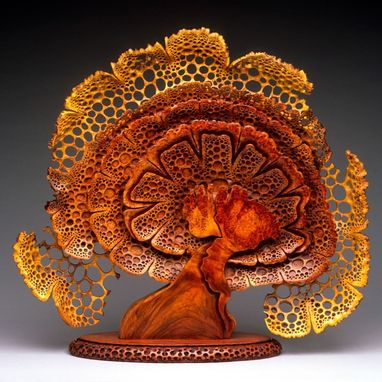"Custom Made Free-Standing Wood Sculpture ""Blooming"""