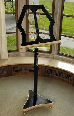 Custom Made Classic Music Stand In Brass And Black Lacquer