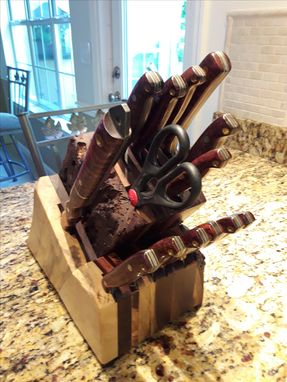 Custom Made Rustic Walnut And Maple Knife Block