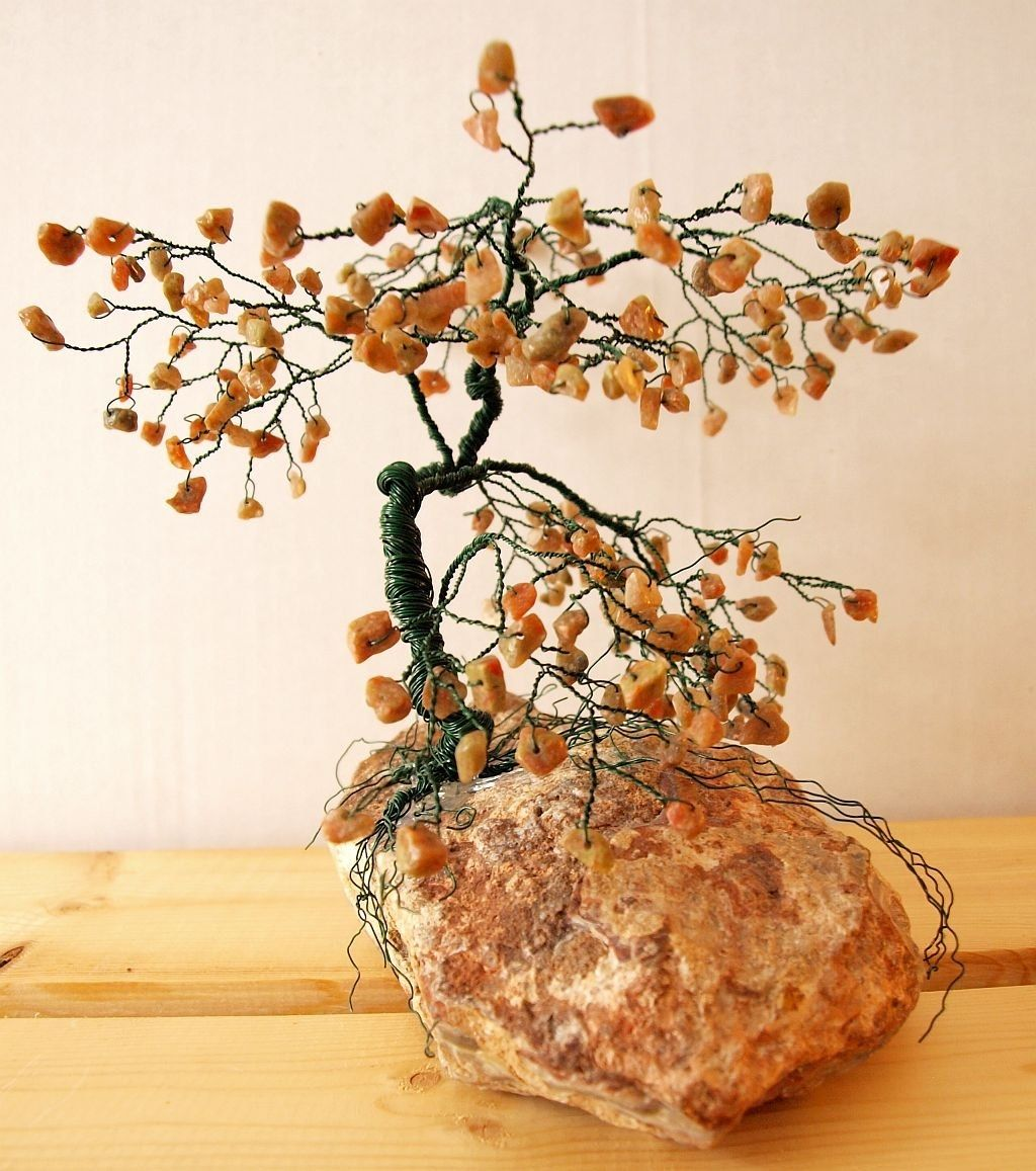 Custom Made Large Bonsai Gem Tree Sculpture Autumn Jasper Gems Home Decor Mother S