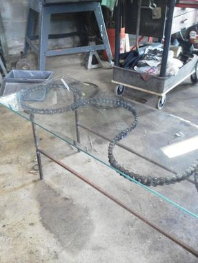 Custom Made Enigma Chain Coffee Table W/ Glass Top