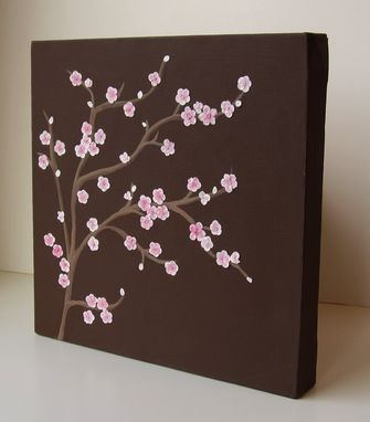 Custom Made Pink Cherry Blossoms Mixed Media Collage On Canvas