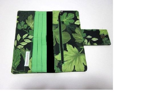 Custom Made Handmade Women Black Wallet Green Leaf Wallet -Bosque- Forest