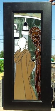 "Custom Made Stained Glass Cabinet Inserts - ""Star Wars Scene"" (Ci-11)"