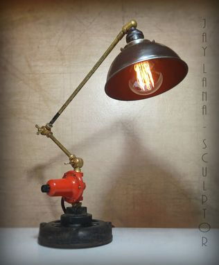 Custom Made Steampunk Upcycled Industrial Assemblage Task Lamp Man Cave