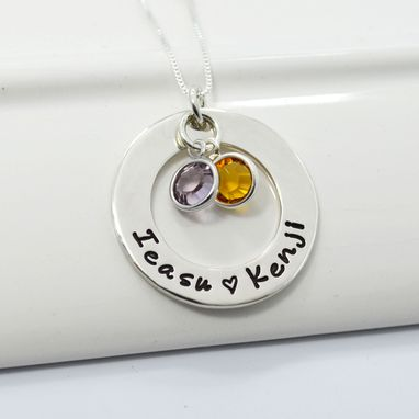 Custom Made Personalized Mothers Necklace | Mother Of Two Hand Stamped Jewelry