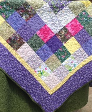 Custom Made Custom Blocked Abstract Wedding Bouquet Quilt