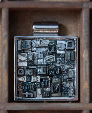 Custom Made Letterpress Type Necklace Square